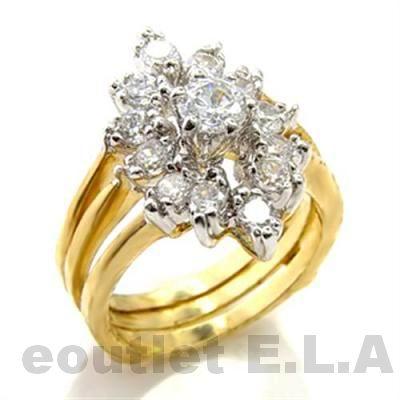 153CT CZ CLUSTER WEDDING RING SET 14KGP 4 Sizes