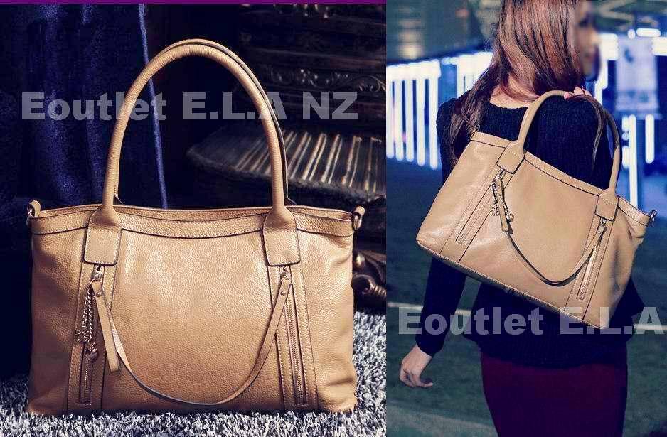 40cm Light Brown Genuine Leather Handbag Shoulder Strap