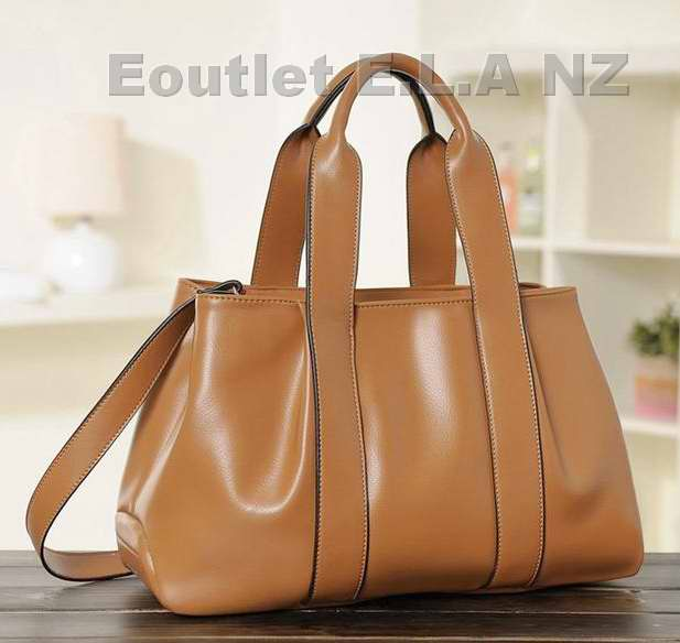 40cm Genuine Leather Handbag Light Brown