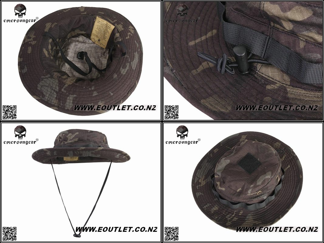 e74a6d5cc21a1 EMERSON Battle Rip Stop Boonie Hat MULTICAM BLACK